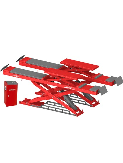 U-Y35D tubular structure wheel alignment scissor lift with built in lifting platforms